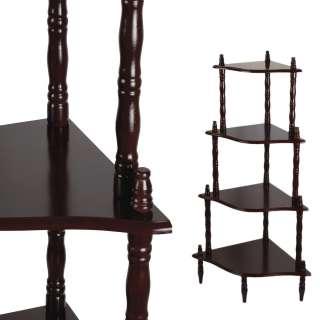 Стеллаж угловой 4 полки деревянный 107х57х39 см коричневый темный