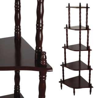 Стеллаж угловой 5 полок деревянный 136х57х39 см коричневый темный