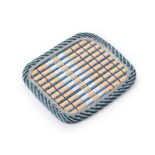 Подставка под чашки бирюзовая бамбуковая соломка квадратная 10х10 см