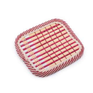 Подставка под чашки бордовая бамбуковая соломка квадратная 10х10 см