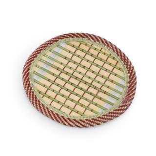 Подставка под чашки бамбуковая соломка круглая зеленая 10 см