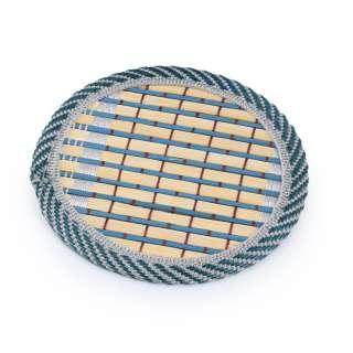 Подставка под чашки бамбуковая соломка круглая бирюзовая 10 см