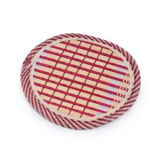 Подставка под чашки бамбуковая соломка круглая красная 10 см
