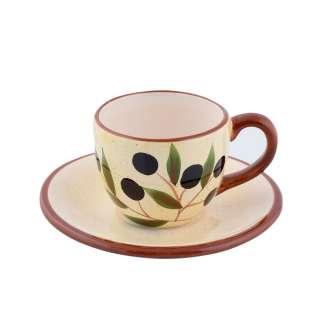 Чашка с блюдцем керамика светло-желтая с оливками с коричневой ручкой 150мл