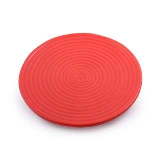 Блюдо керамическое круглое рельефное 27х27х2 см красное
