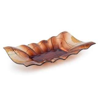 Блюдо стеклянное прямоугольное волнистое 21х33х6 см коричневое