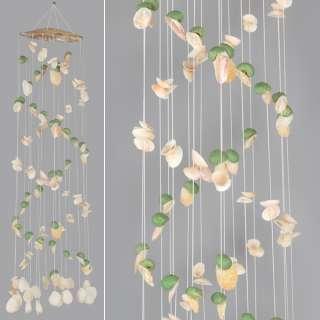 Музыка ветра подвеска из натуральных ракушек 100 см бело-зеленая