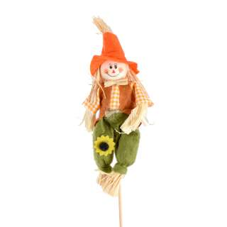Декор для растений пугало соломенное на палочке 33 см в оранжевой шляпе