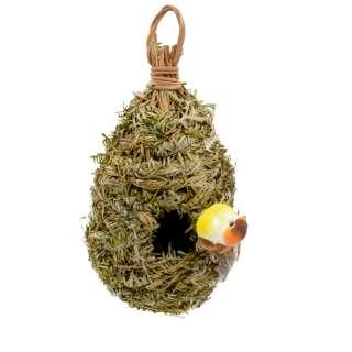 Настенный декор гнездо соломенное с листьями 23х12х12 см с птичкой
