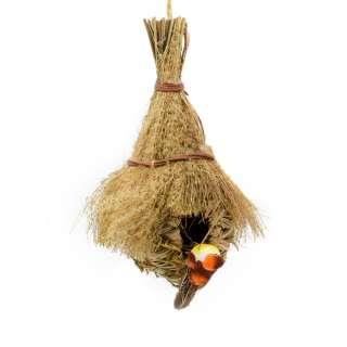 Настенный декор гнездо соломенное с веничком 30х18х13 см с птичкой