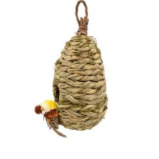 Настенный декор гнездо соломенное 23х12х12 см с птичкой