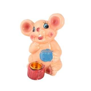 Фигурка подсвечник Мышка 8 см с подарком бежевая