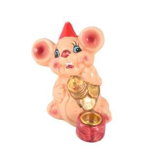 Фигурка подсвечник Мышка 8 см с монетками бежевая