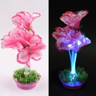 Ночник светильник на батарейках 25 см Лилия розовая