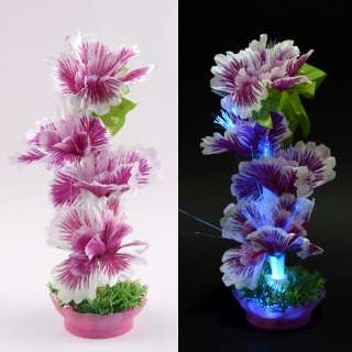 Ночник светильник на батарейках 25 см Цветок сиреневый