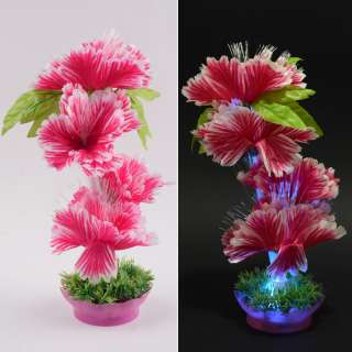 Ночник светильник на батарейках 25 см Цветок малиновый