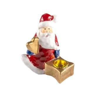 Фигурка подсвечник Дед мороз 9 см с подарком