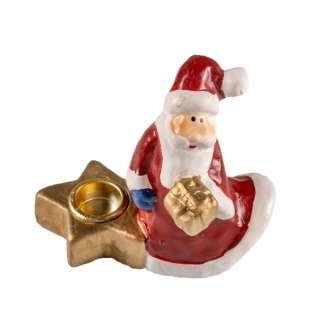 Фигурка подсвечник Дед мороз 9 см со звездой