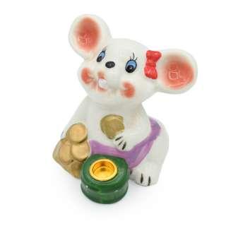 Фигурка подсвечник Мышка 8 см с монетками белая