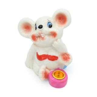 Фигурка подсвечник Мышка 8 см в купальнике с розовым подсвечником белая