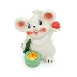 Фигурка подсвечник Мышка 8 см поваренок белая