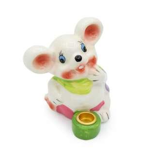 Фигурка подсвечник Мышка 8 см с зеленым шарфиком белая