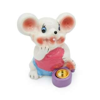 Фигурка подсвечник Мышка 8 см в розовой майке белая