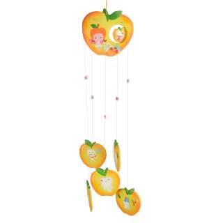 Музыка ветра подвеска керамическая яблоко 60 см желтая (0404)