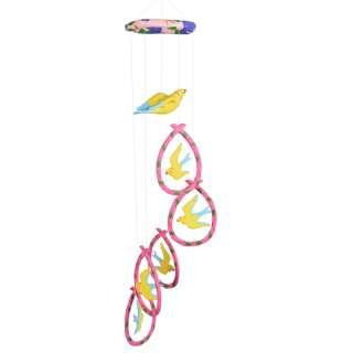 Музыка ветра подвеска керамическая птицы 75 см розово-желтая