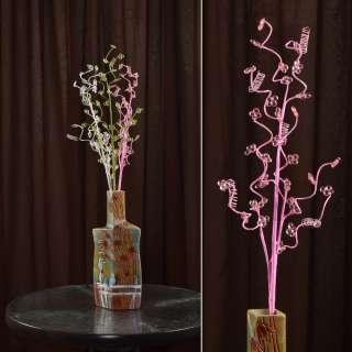 цветы иск. Веточка розовая с мелкими цветами и спиралью 80см
