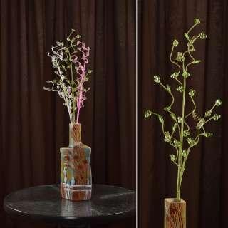 цветы иск. Веточка зеленая с мелкими цветами и спиралью 80см