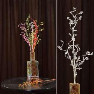 цветы иск. Веточка белая с мелкими цветами и спиралью 80см
