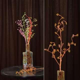 цветы иск. Веточка оранжевая с мелкими цветами и спиралью 80см