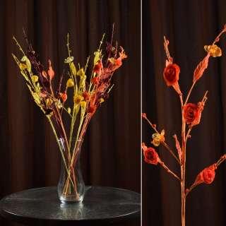 Искусственная веточка 70 см китайская розочка оранжевая