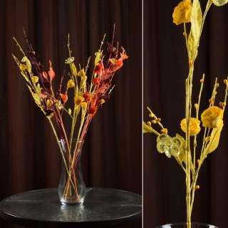 Искусственная веточка 70 см китайская розочка желтая