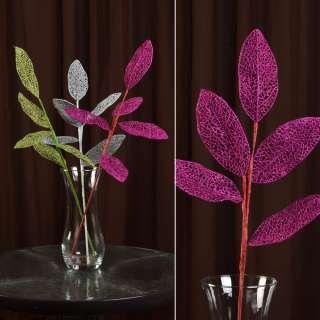 ветка декоративная розовая с ажурными листьями блестящая