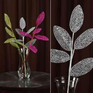 ветка декоративная серебряная с ажурными листьями блестящая