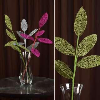 ветка декоративная зеленая с ажурными листьями блестящая