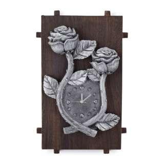 Часы настенные на деревянной основе 36x21см Розы