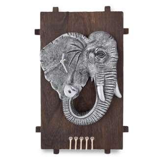 Часы настенные на деревянной основе 36x21см Слон