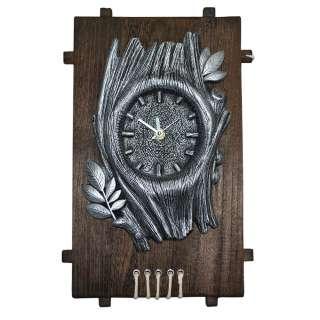 Часы настенные на деревянной основе 36x21см Дерево