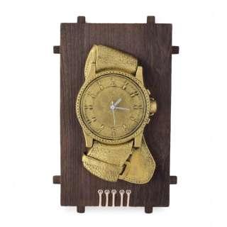 Часы настенные на деревянной основе 36x21см Часы золотистые