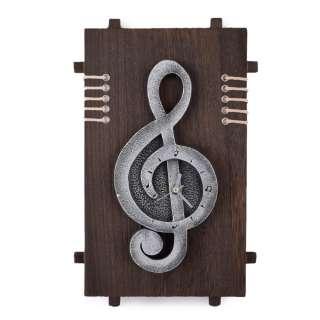 Часы настенные на деревянной основе 36x21см Скрипичный ключ
