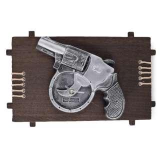 Часы настенные на деревянной основе 21х36 см Револьвер