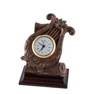 Часы настольные лира 13,5х11,5х9 см под бронзу