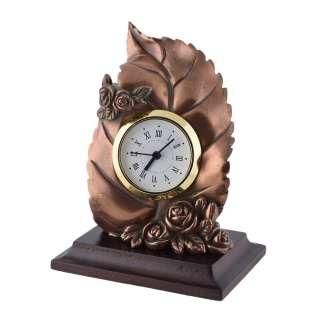 Часы настольные лист с розочками 13х10х7,5 см под бронзу