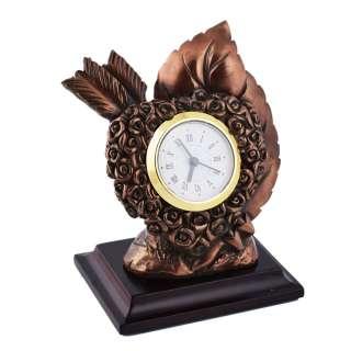 Часы настольные сердце со стрелой 13х10,5х7,5 см под бронзу