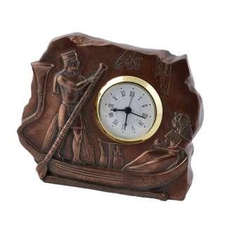 Часы настольные египтяне в лодке 10,5х13х3,5 см под бронзу