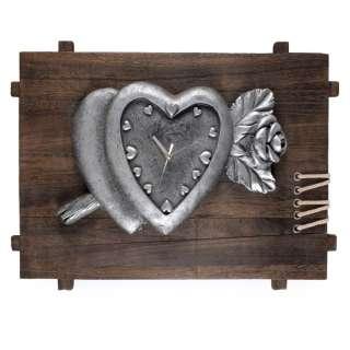Часы настенные на деревянной основе 35х50х8 см Сердце с розой