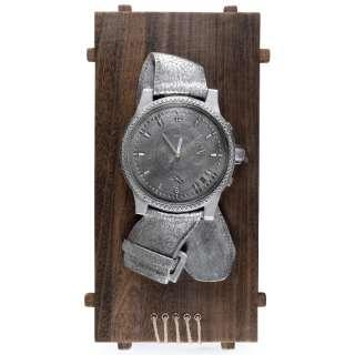 Часы настенные на деревянной основе 60х30х6 см Часы серебристые